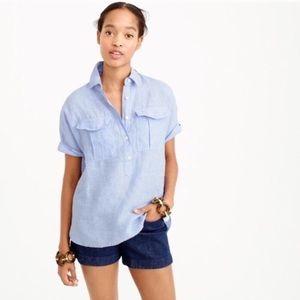 J Crew Irish Linen popover size 2 blouse